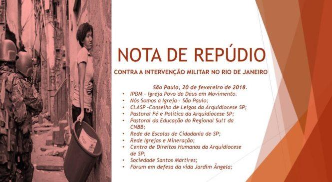 Na ausência da CNBB, a Igreja dos debaixo insurge-se contra a intervenção. Mauro Lopes