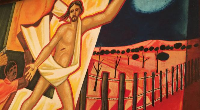 """2°Dom Pascoa. """"O sopro de uma nova criação"""" Ao anoitecer, fechadas as portas, os discípulos tinham medo e Jesus entrou""""."""
